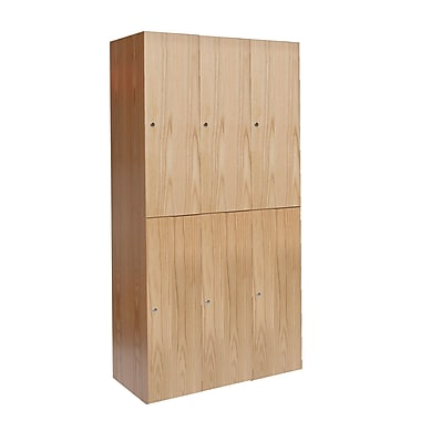 Hallowell Club 2 Tier 3 Wide School Locker; 72'' H x 36'' W x 18'' D
