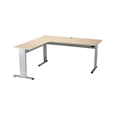 Populas Infinity L-Shape Standing Desk w/ Bow Front; Fresh Canvas