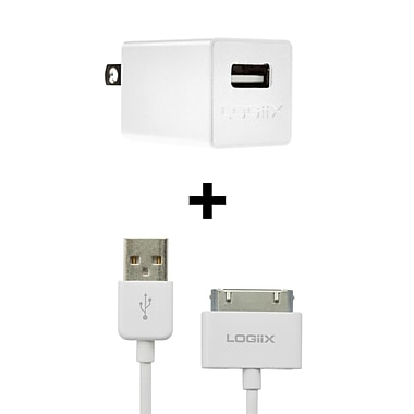 Logiix USB+ Charger, 30 Pin iPod/iPhone, White