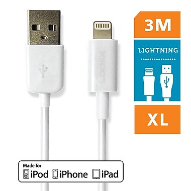 Logiix - Câble Sync & Charge Jolt XL, USB à Lightning, 3 m, blanc