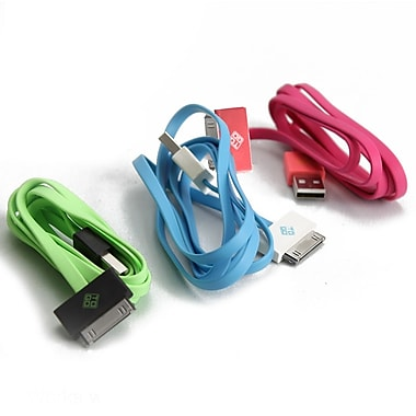 BlueDiamond ToGo 30-Pin Sync & Charge Cable for iPhone 4/4S, Green/Black, Pink/Coral, White/Light Blue, 3/Pack