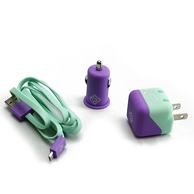 BlueDiamond ToGo Charging Kit for Android/Blackberry/Microsoft Phones, Purple & Aqua, 3/Pack