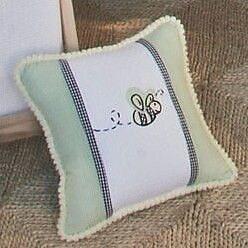 Brandee Danielle Flutter Bees Bee Frame Decorator Cotton Throw Pillow