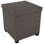 "Atlantic 17"" X 17"" Ottoman With Wooden Feet (brown)"