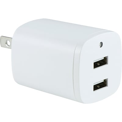 GE 2.1-amp Dual-port USB Wall CharGEr With Folding Prongs (white)