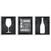 Wine Glass, Bottle, and Typography Black and White 3 Piece Graphic Art Wall Plaque Set (Set of 3)