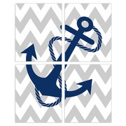 Stupell Industries The Kids Room Chevron Anchor 4 Piece Graphic Art Wall Plaque Set