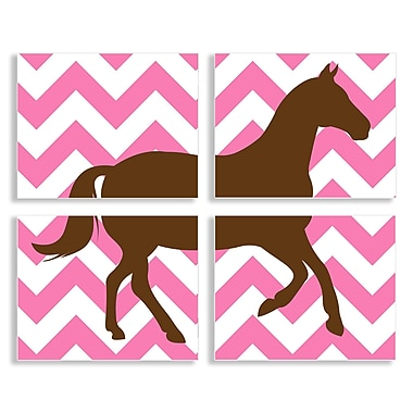 Stupell Industries The Kids Room Brown Horse on Pink Chevron 4 Piece Graphic Art Wall Plaque Set