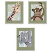 The Kids Room Giraffe, Monkey, Elephant Triptych 3 Piece Graphic Art Wall Plaque Set