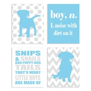 The Kids Room Boy Snips and Snails and Puppy Dog Tails 4 Piece Graphic Art Wall Plaque Set