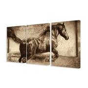 Stupell Industries Galloping Stallion Horse 3 Piece Photographic Print Canvas Set