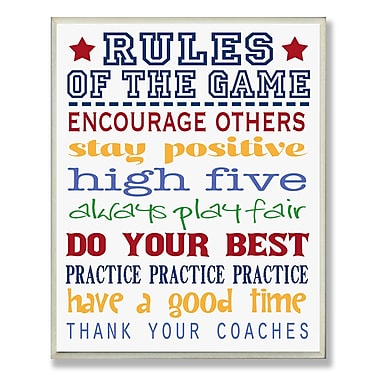 Stupell Industries The Kids Room Rules of the Game Blue Outline Textual Art Wall Plaque