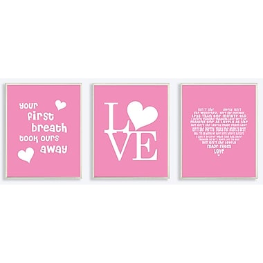 Stupell Industries The Kids Room Baby Girl Love Triptych 3 Piece Textual Art Wall Plaque Set