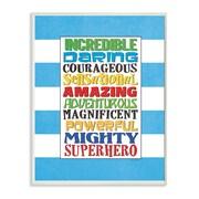 Stupell Industries The Kids Room Superhero Words Blue Stripe Textual Art Wall Plaque