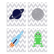 Stupell Industries The Kids Room Outer Space 4 Piece Graphic Art Wall Plaque Set
