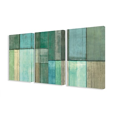 Stupell Industries Blue and Green Abstract 3 Piece Graphic Art on Canvas Set