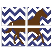 Stupell Industries The Kids Room Brown Horse on Navy Chevron 4 Piece Graphic Art Wall Plaque Set
