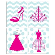 Stupell Industries Dressed to the Nines Chevron and Polka Dots 4 Piece Graphic Art Wall Plaque Set