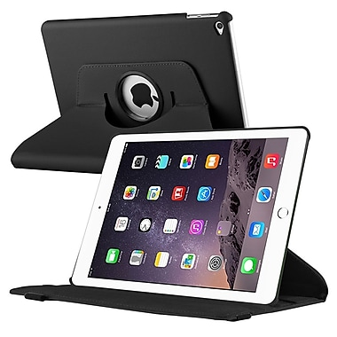 Insten® Swivel Book-Style Leather Fabric Cover Case with Stand for Apple iPad Air 2 Black (1991079)