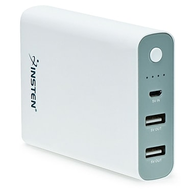 Insten® Dual USB Port 10400mAh Universal Power Bank External Battery Charger for Tablet and Cell Phone (1994483)