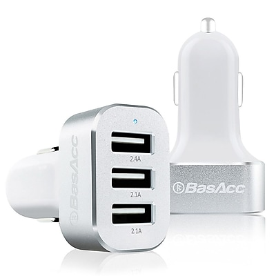 BasAcc® 6.6A 3 Port USB Car Charger for Smartphones and Tablets, White