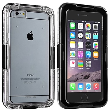 Insten® Hard Plastic Waterproof Cover Case Lanyard for Apple iPhone 6 Plus Clear/Black (2062487)