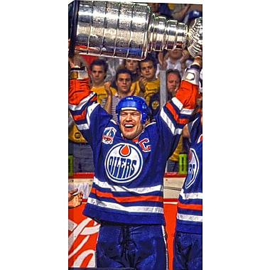 Messier M Unsigned HHOF Canvas, Oilers Cup Raised -V, 14