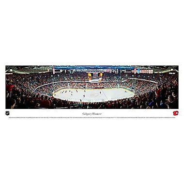Flames de Calgary, plaque, aréna en vue panoramique, 21 x 48 po