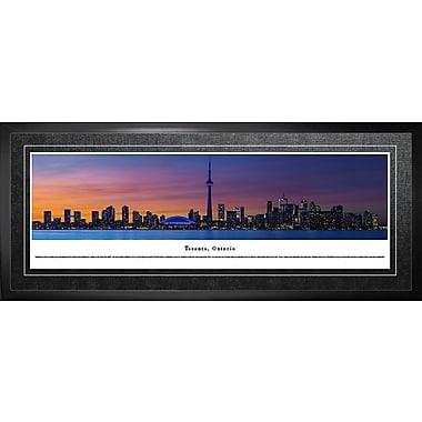 Image encadrée, Toronto, ON, panorama de nuit, 21 x 48 po