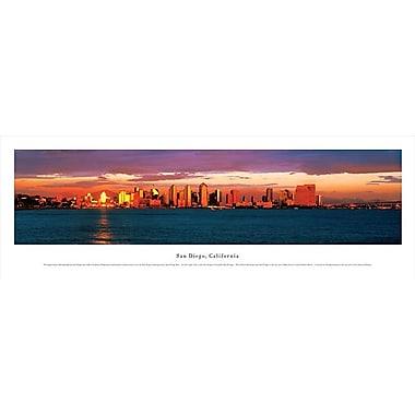 San Diego, CA Panorama Plaque, Night, 13.5