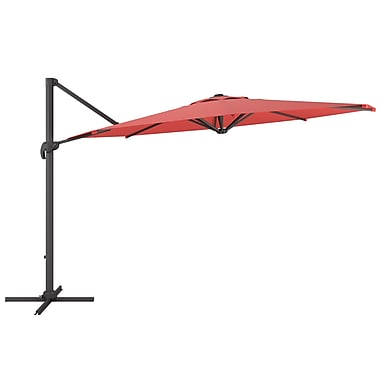 CorLiving PPU-550-U Deluxe Offset Patio Umbrella, Wine Red