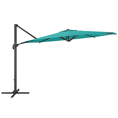 CorLiving PPU-560-U Deluxe Offset Patio Umbrella, Turquoise Blue
