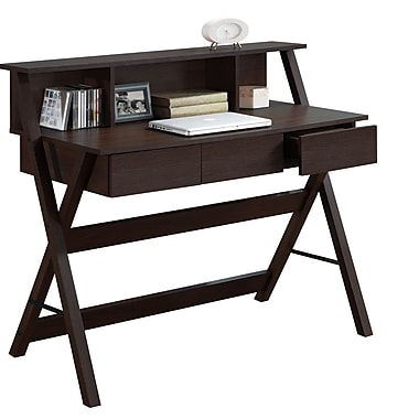 CorLiving WFP-770-D Folio Three Drawer Desk with Low Profile Hutch, Modern Wenge
