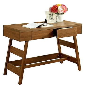 CorLiving WFP-920-D Folio Two Drawer Desk, Warm Oak