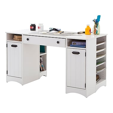 South Shore – Table de bricolage Artwork avec rangement, 53,5 long. x 23,75 prof. x 30 haut. (po), blanc pur