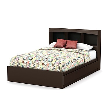 South Shore Step One Full Size Mates Bed with Drawers and Bookcase Headboard (54'') Set, Chocolate