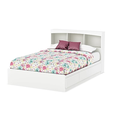 South Shore Step One Full Size Mates Bed with Drawers and Bookcase Headboard (54'') Set, Pure White