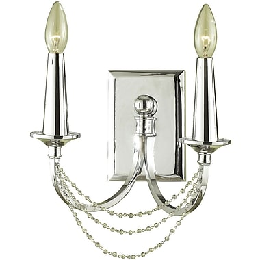 AF Lighting Shelby Two-Light Sconce, Chrome (77032W)