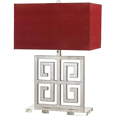 AF Lighting Santorini Table Lamp, Silver with Red Shade (8269TL)