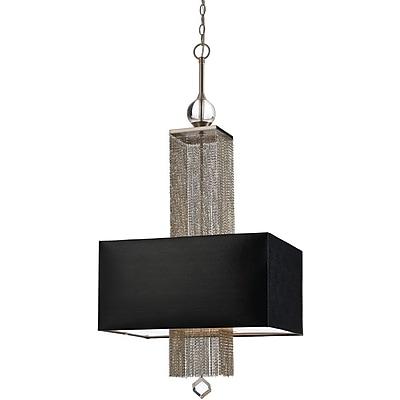 AF Lighting 8446 Three Light Pendant, Black Shade (84463H)