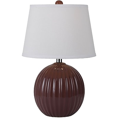 AF Lighting Bleeker Ceramic Ribbed Ball Table Lamp, Red (8567TL)