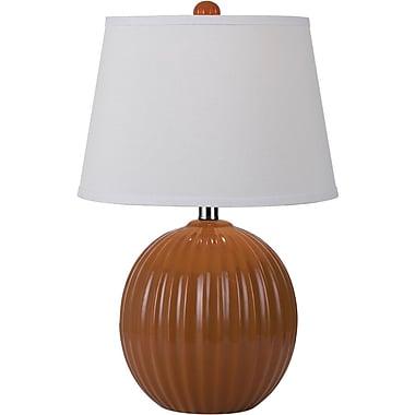 AF Lighting Bleeker Ceramic Ribbed Ball Table Lamp, Orange (8569TL)