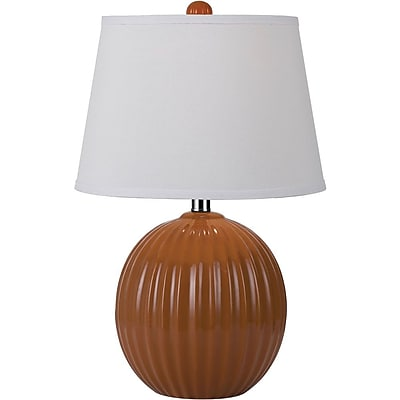 AF Lighting Bleeker Ceramic Ribbed Ball Table Lamp, Orange (8569TL)