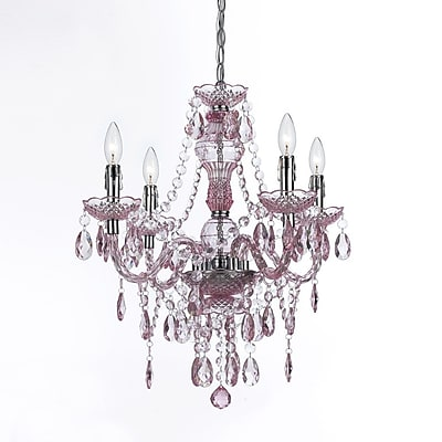 AF Lighting Naples Four Light Mini Chandelier, Pink (86834H)