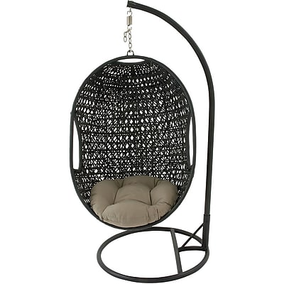Hanover Outdoor Furniture Hanging Wicker Pod Swing with Sage Green Cushion (EGGSWING01)