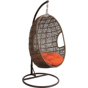 Hanover Outdoor Rattan Pod Swing Chair with Orange Seat Cushion
