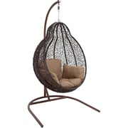 Hanover Outdoor Furniture Outdoor Wicker Pod Swing with Full Hazelnut Cushion (EGGSWING04)