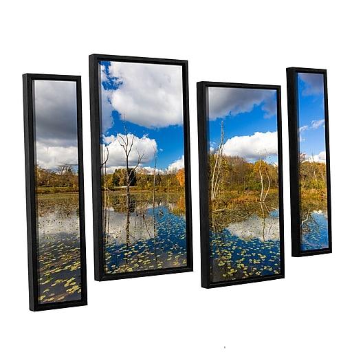 "Artwall 'Beaver Marsh' 4-Piece Floater Canvas Staggered Set 24"" x 36"" Framed (0yor001i2436f)"