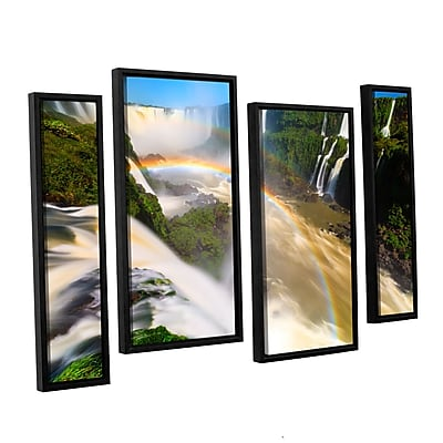"ArtWall 'Iguassu Falls 2' 4-Piece Canvas Staggered Set 24"" x 36"" Floater-Framed (0yor042i2436f)"