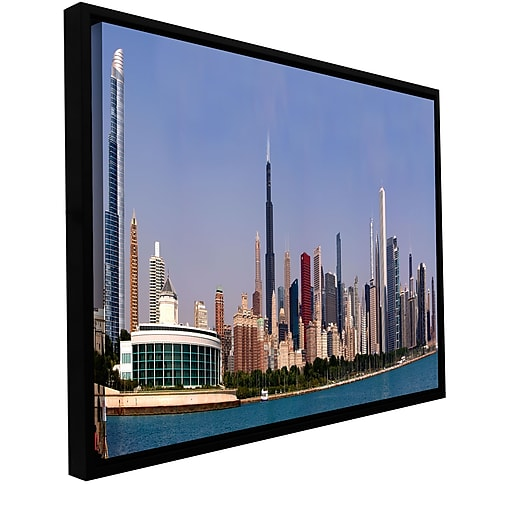 "ArtWall 'Chicago Pano' Gallery-Wrapped Canvas 24"" x 48"" Floater-Framed (0yor014a2448f)"